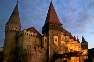 late afternoon view upon gothic Corvin Castle