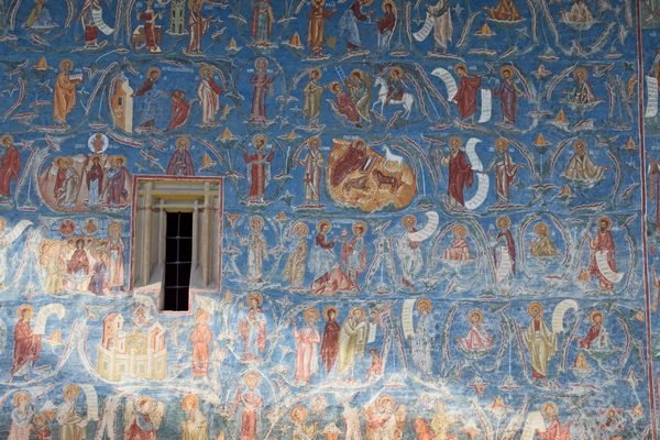 the Tree of Jesse detail at UNESCO Voronet monastery in Bucovina