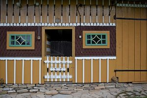 colorful wooden traditional stable from Bucovina
