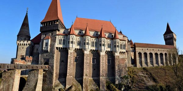 early spring day at gothic Corvin Castle in Transylvania