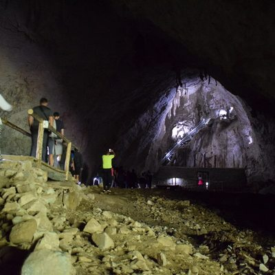 caving with a group in Apuseni Mountains