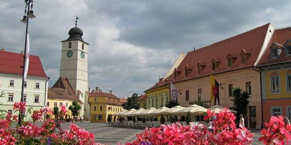 view from the Big Square towards Council Tower in Sibiu, Transylvania