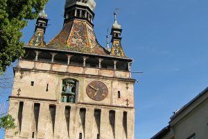 detail of the clock system decorating the tower in Sighisoara