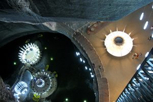 colorful and exiting view inside Turda salt mine