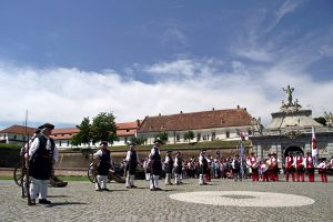 reenactment event in fron of the third gate in Alba Iulia