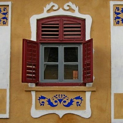 colorful window of saxon house
